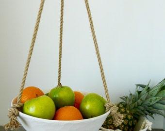 Large Hanging Ceramic Fruit Basket, Jute or Cotton Cord, Hand Carved Geometric or Smooth Porcelain Bowl Design