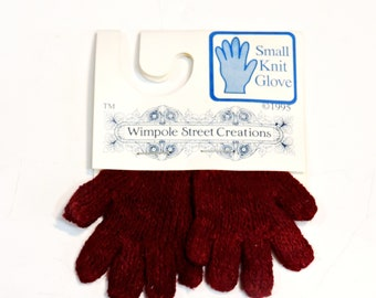 Wimpole Street Creations Pair Small Knit Burgundy Gloves, Vintage Craft Embellishments, Christmas Ornament, Craft Supply itsyourcountry
