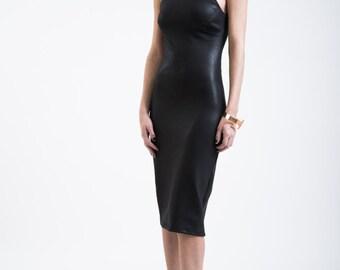 Halter Neck Dress / Pencil Dress / Midi Party Dress / Cocktail Dress / Shift Dress / Ponte Dress / Marcellamoda - MD0176