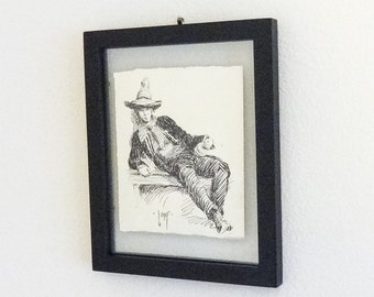 Cowbo Portrait Illustration Pen Ink Drawing by Artist Long On Two Sides