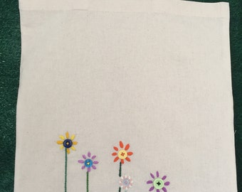 Hand Embroidered - Flower Button Tote Bag.