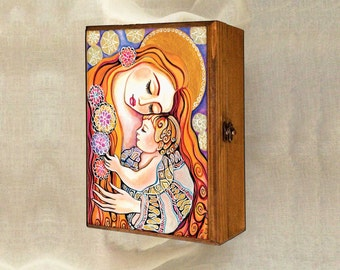 Mother and child painting, mother box, treasure box, nursery art, Madonna and child, christian box, jewelry box, 7x10