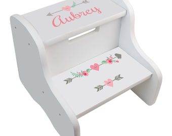 Girls Personalized Step Stool With Storage Stool Childs Step