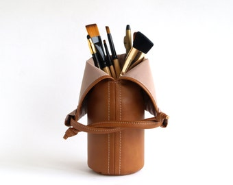 Makeup Brush Holder Makeup Brush Roll Makeup Storage Brush Bag Gift For Women Travel Makeup Brush Pouch Brown Makeup bag Travel Cosmetic Bag