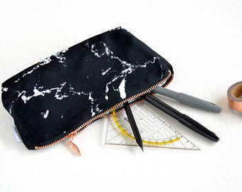 MARBLE bag // pencil case marble makeup bag pouch case rose gold copper zipper black marble monogrammed made by renna deluxe