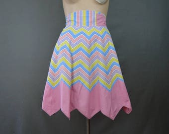 Vintage Pink Striped Cotton Apron, 1940s Kitchen, Gored, Easter Colors