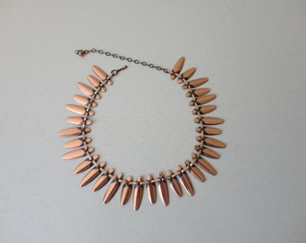VINTAGE copper tone FRINGE link NECKLACE - statement necklace - casual necklace - adjustable necklace