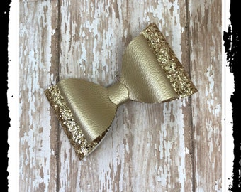 Dusty Gold Leatherette bow