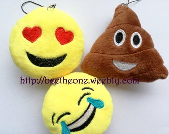 Phone strap charm plush kawaii Emoji - Love, lol or poop