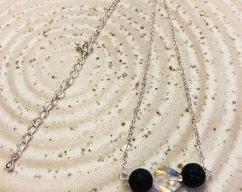 Swarovski Crystal and Lava Stone necklace