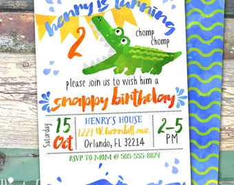 Alligator Crocodile Watercolor Personalized Birthday Printable Invitation Print at Home
