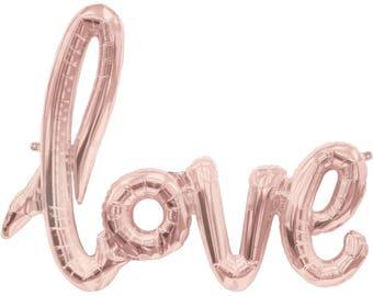 Rose Gold Love Balloon for Weddings, Bridal Showers, Engagement Parties, Hen Parties | Cursive Script