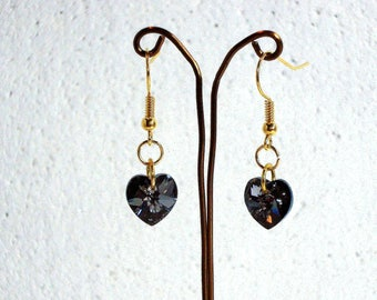 Grey AB Crystal Heart Earrings - Swarovski Elements