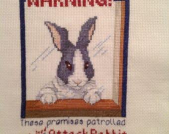 Cross Stitch Finished, Rabbit, Warning