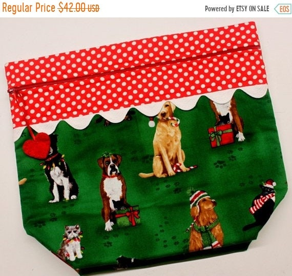 SALE Big Bottom Fur Babies Christmas Cross Stitch, Embroidery Project Bag