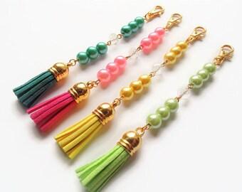 Tassel keychain, handbag charm, bag charm, tassel charm, tassel keyring, bag accessories, bag accessory, birthday gift, clip on tassel