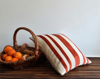 Orange Striped Pillow Cover - 20x20 Cushion Cover - Modern Decorative Pillow Cover, Accent Pillow, Throw Pillow, Orange Pillow