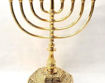 High Quality Menorah ( Hanukiah ) Gold  Plated From Holy Land H/44 cm x W/32 cm