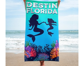 "Destin Florida Beach Towel Mermaid Tropical Reef Mother and Daughter Mermaids 30"" x 60"" Soft"