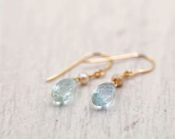 Aquamarine and Freshwater Pearl Earrings 14k Solid Gold - March birthstone