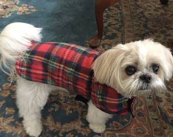 Red Tartan Plaid Fleece Dog Coat- Size Small- 12 to 14 Inch Back Length - Or Custom Size