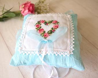 embroidered, handmade ring bearer pillow, ring bearer pillow, lace ring bearer pillow, wedding ring pillow, lace ring pillow, ring cushion