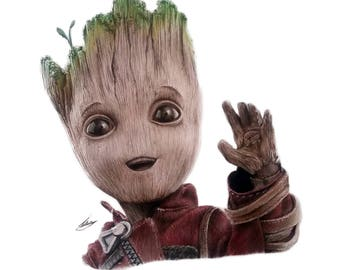 SALE! Guardians of the Galaxy Baby Groot Pencil Drawing Art Print CHRISTMAS GIFT