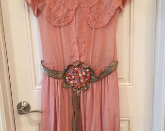 Ribbon Work Antique Dress 20's