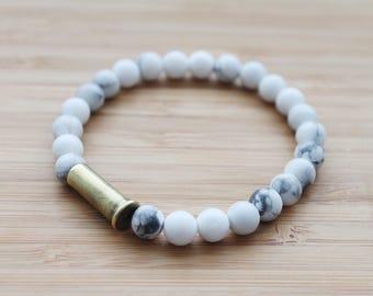 beaded bullet shell bracelet   white howlite