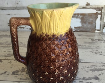 Antique Majolica Pineapple Pitcher - 1880s Aesthetic Ware - Figural Milk Pitcher OLD