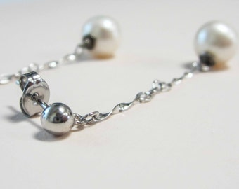 PEARL drop earrings, sterling silver