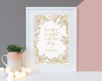 Best Friend Gift - Friendship Quote Print - Friendship Is Constant - Shakespeare Quote - Literary Gifts - Friendship Gifts - Gifts For Her -