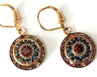 Topaz Crystal Earrings Swarovski Drop Earrings Art Deco Earrings Smoked Topaz and Sapphire Crystal Earrings Crystal Rhinestone Earrings