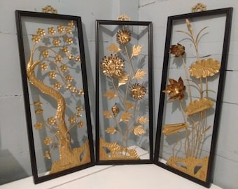 Art, Floral, Framed, 3D, Wall Art, Metal, Sculpture, Set of 3, Mid Century Modern, Asian Decor, Black, Gold, Home Decor, RhymeswithDaughter