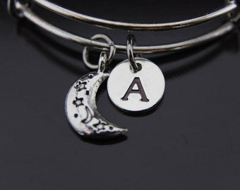 Celestial Bracelet, Eclipse Bracelet, Half Moon Charm Bangle, Crescent Moon Charm, Personalized Gift, Best Friend Gift, Coworker Gift