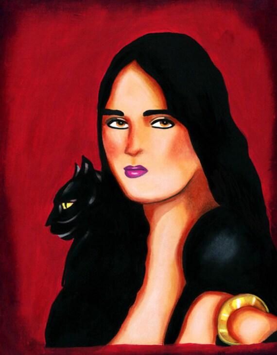 Elena Spanish Witch Black cat art print, original painting, original artwork, pagan folk art, fantasy goth, modern art, sexy witch woman