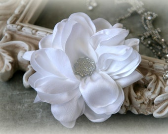 Tresors   White  Satin Flowers with Decorative Center, for Headbands, Clothing, Sashes, Crafting, 4 inches across, FL-326