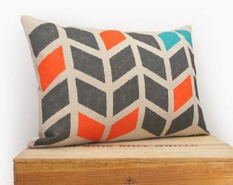12x18 Chevron Pillow case | Hand Printed Decorative Cushion Cover | Geometric Arrows in Charcoal Grey, Orange, Turquoise & Beige