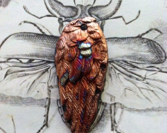 198. Raku Wondrousstrange Jewelry Supply Seraphim Wing Large Blue Copper  Raku Stoneware Wing
