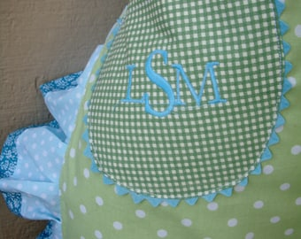 Aprons - Womens Green Half Aprons - Sea Breeze and Mist Apron - Blue and Green Dots - Ruffled Apron with Pockets - Annies Attic Aprons