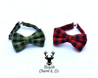 Buffalo Plaid Bow Tie, Toddler Bow Tie, Toddler Boys Formal Wear, Lumber Jack Bowtie, Plaid Bow Tie, Ring Bearer Outfit, Page Boy Outfit