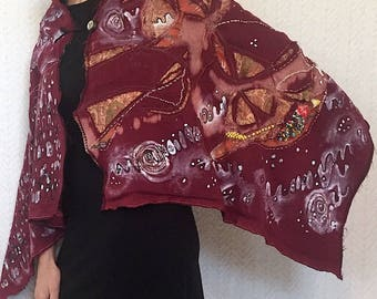 The Treasure Within - Ancestry Cloth Shawl, wearable art clothing, fine craft accessories for women, fiber art, silk shawl, beaded cape