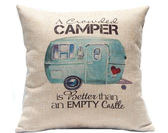RV Decor - Crowded Camper Pillow Cover - Gift Under 20 - RV Pillow - Happy Camper Gift - Travel Trailer Decor - Couples Gift - RV Accessory