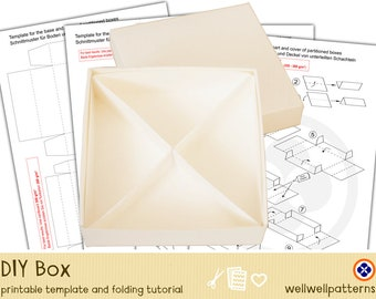 Ebook box template and tutorial, 4 triangles, giveaway box, gift box, divided box, DIY Box