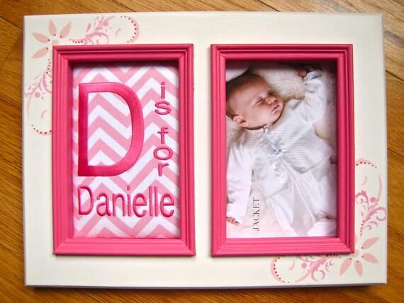 Custom baby girl 5x7 frame Baby girl name frame Pink and white ...