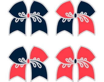 Large Light Navy/Neon Peach Cheer Bow ***PRE-ORDER***