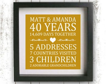 Printable 50th Anniversary Gift - Custom Family Established Sign - Golden Anniversary