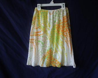 70s Colorful Floral Slip Skirt