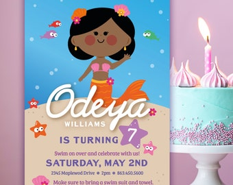 Personalized Cute Mermaid Birthday Invite