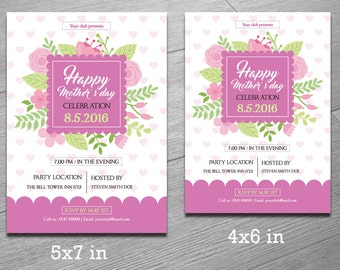 Mother's Day Invitation Flyer Template   Photoshop and Elements Template   Instant Download